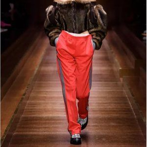 Burberry Double-Waist Trackpants Red Stripe Detail